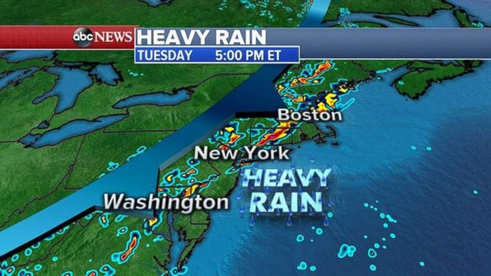 Heavy rain will enter the Washington D.C. Philadelphia New York City and Boston regions late Tuesday afternoon