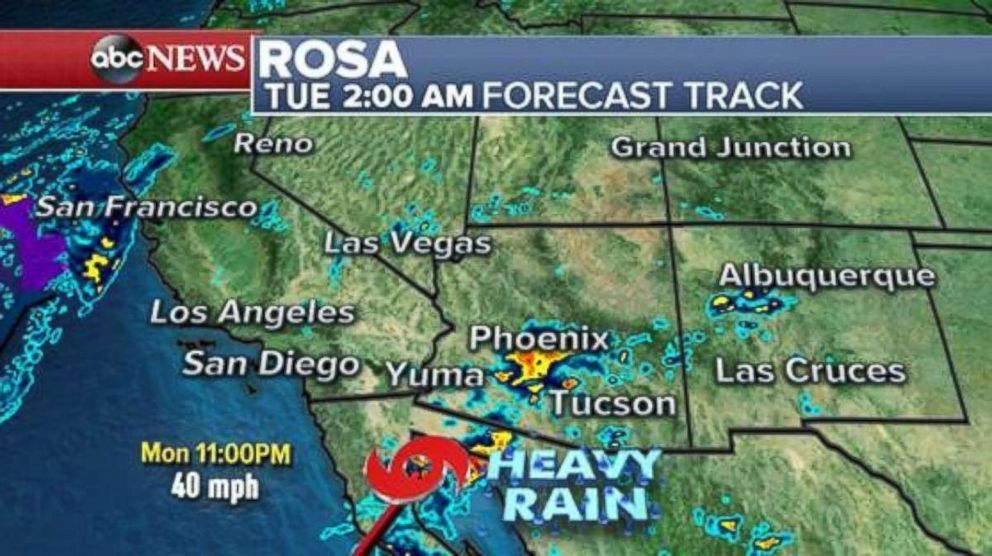 PHOTO: Heavy rain from the remnants of Hurricane Rosa will move into the U.S. Southwest by early Tuesday.