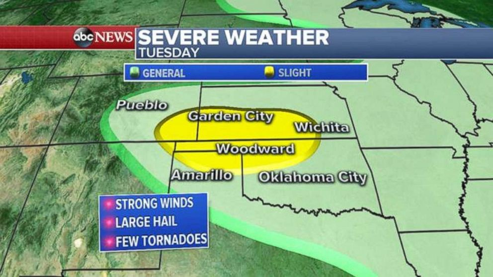 Severe weather could hit northern Texas, Oklahoma and Nebraska on Tuesday.