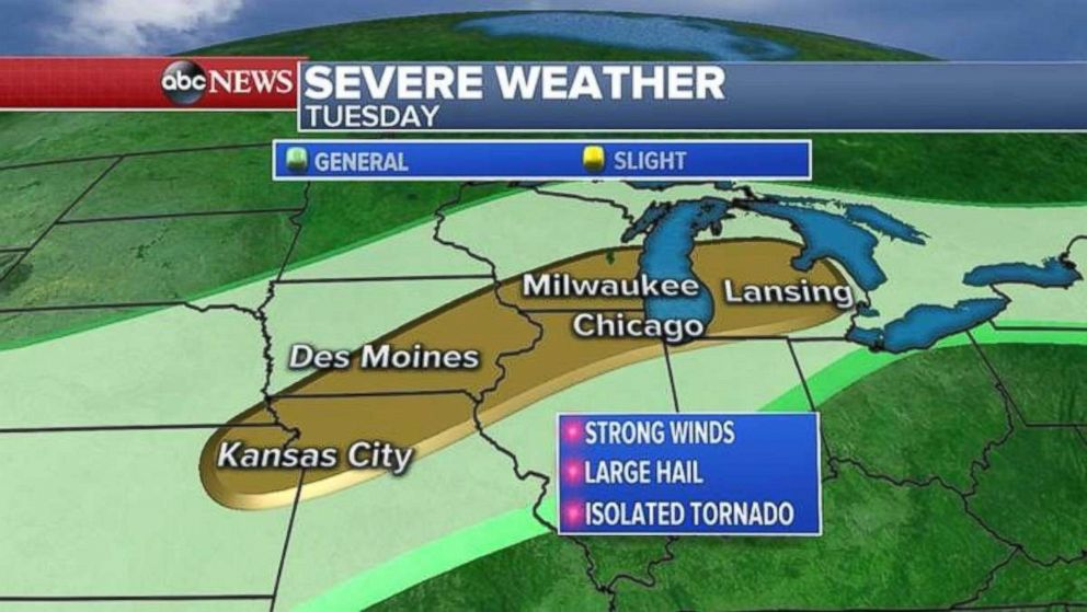 The severe weather threat on Tuesday stretches from Kansas City, Mo., to Lansing, Mich.