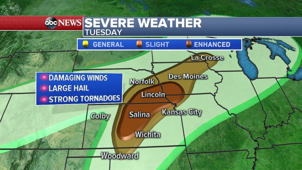 Following Southern Nebraska Tornado Weather Tuesday, Risk Shifts Slightly East For Wednesday