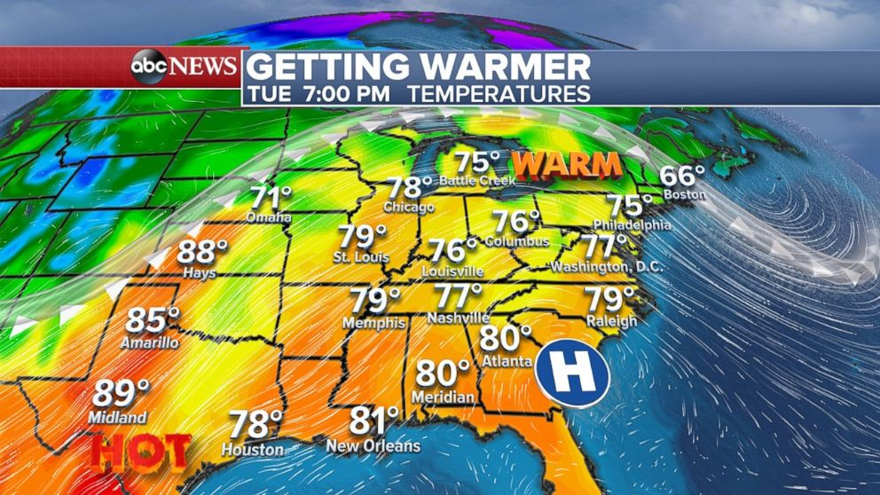 The warm weather will move into the East on Tuesday afternoon