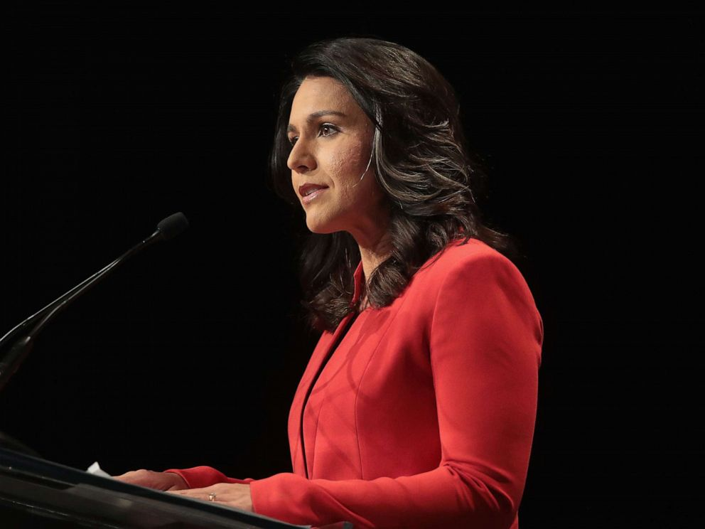 PHOTO: Democratic presidential candidate and Hawaii congresswoman Tulsi Gabbard speaks at the Iowa Democratic Partys Hall of Fame Dinner on June 9, 2019, in Cedar Rapids, Iowa.