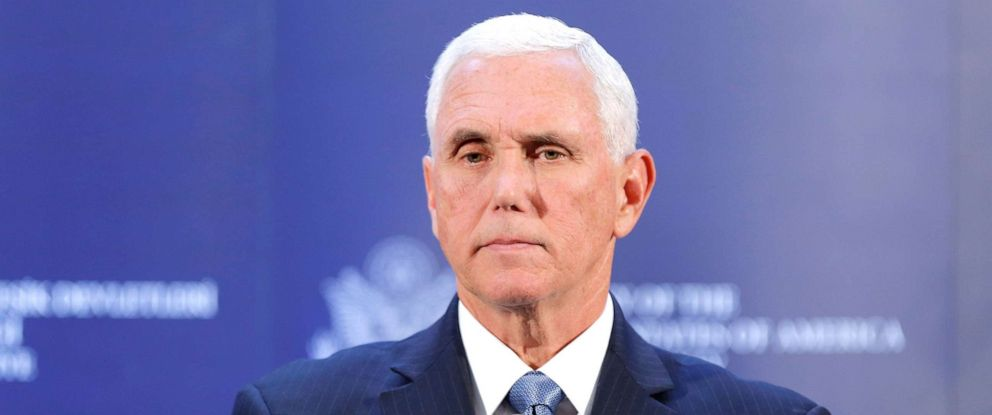 PHOTO: Vice President Mike Pence attends a news conference at the U.S. Embassy in Ankara, Turkey, Oct. 17, 2019.