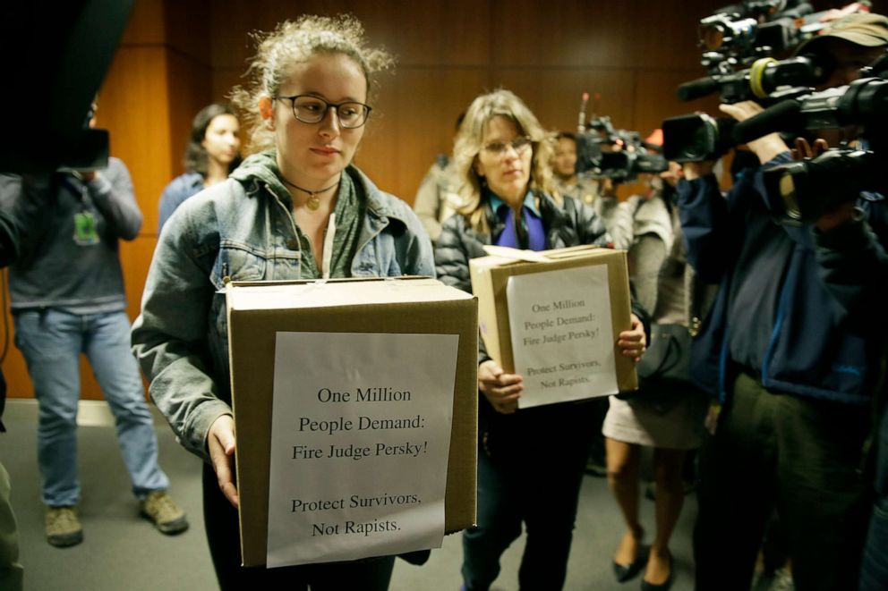 PHOTO: Activists from UltraViolet attempt to deliver over one million signatures to the California Commission on Judicial Performance calling for the removal of Judge Aaron Persky from the bench, June 10, 2016, in San Francisco.
