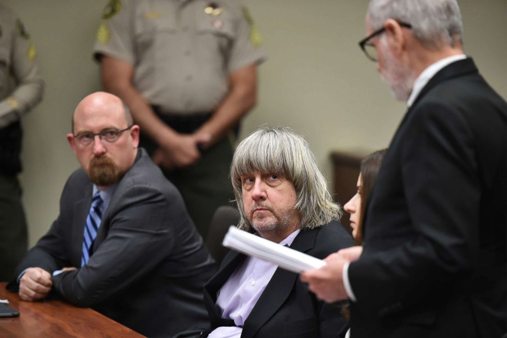 PHOTO: David Allen Turpin appears in court for arraignment with attorneys on Jan. 18, 2018, in Riverside, Calif.