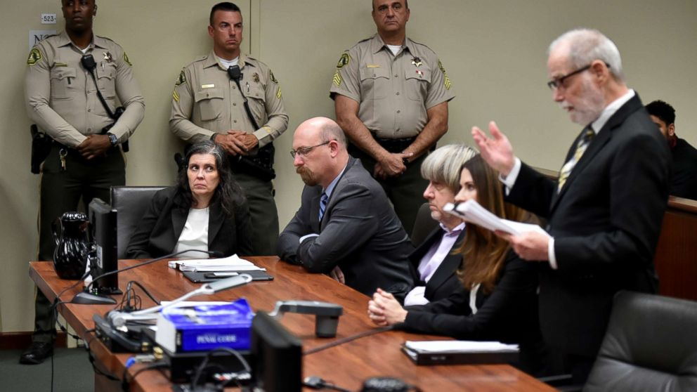 Louise Anna Turpin and David Allen Turpin appear in court for arraignment with attorneys on Jan. 18, 2018 in Riverside, Calif.