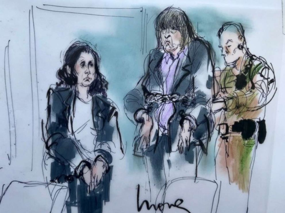 PHOTO: Louise Turpin, 49, and David Turpin, 56, are depicted in a sketch made during their first court appearance in California, Jan. 18, 2018.