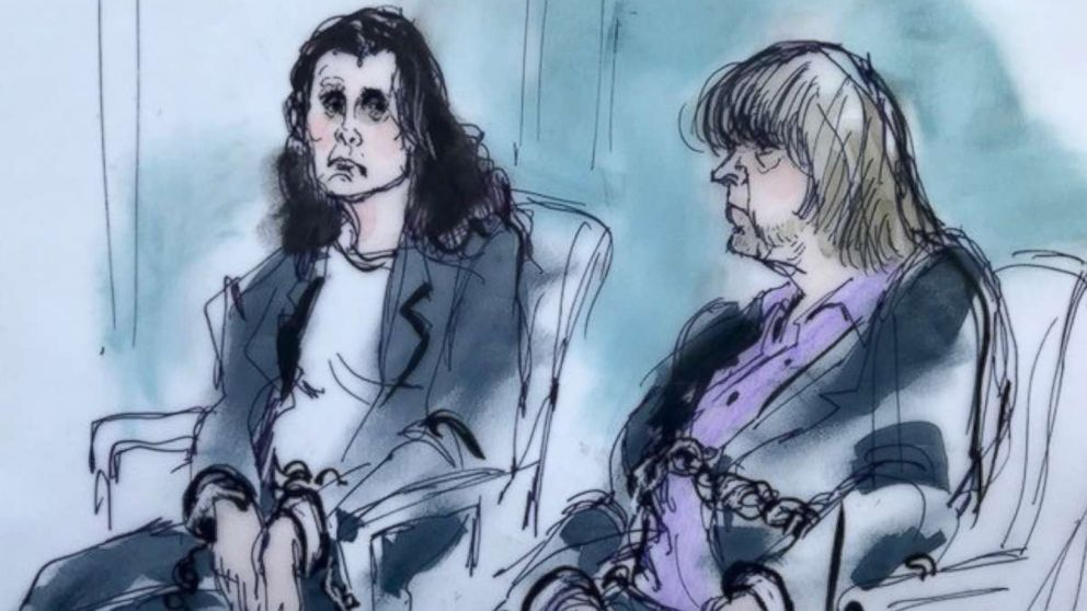 Louise Turpin, 49, and David Turpin, 56, are depicted in a sketch made during their first court appearance in California, Jan. 18, 2018.