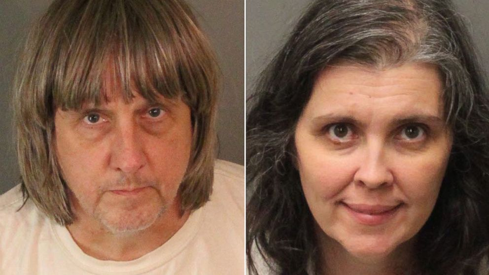 Mugshots of David Turpin and Louise  Turpin of Perris, Calif., provided by the Riverside County Sheriff's Department, Jan. 15, 2018.