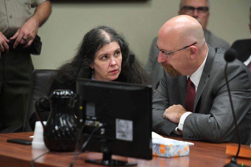 PHOTO: Louise Turpin, left, listens to her attorney, Jeff Moore, during a sentencing hearing, April 19, 2019, in Riverside, Calif.