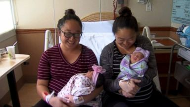 PHOTO: Twin sisters Bao Nhia Julia Yang and Bao Kou Julie Yang gave birth on the same day in Fresno, Calif.