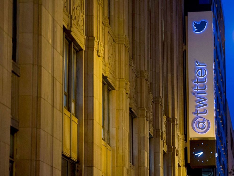 PHOTO: In this Sept. 13, 2013, file photo, the Twitter Inc. logo and signage is displayed on the facade of the companys headquarters in San Francisco.