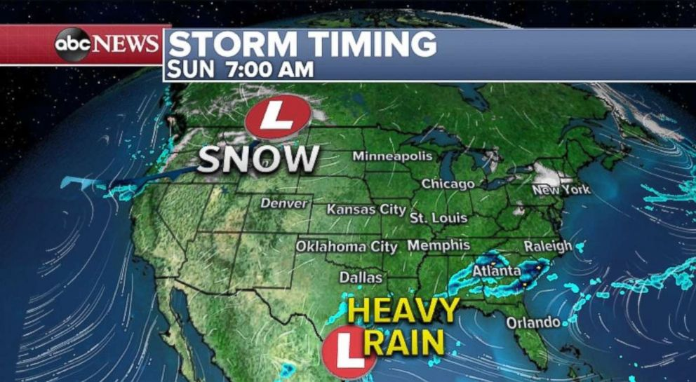 PHOTO: Two storms in the Northwest and Gulf Coast will combine to bring rain to the eastern U.S. on New Years Eve.