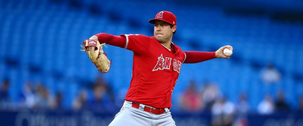 PHOTO: Tyler Skaggs #45 of the Los Angeles Angels of Anaheim delivers a pitch in the first inning during a MLB game against the Toronto Blue Jays at Rogers Centre on June 18, 2019, in Toronto.