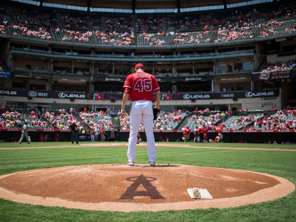 PHOTO: In this file photo, starting pitcher Tyler Skaggs, #45 of the Los Angeles Angels of Anaheim prepares to pitch while warming up before the game against the Boston Red Sox at Angel Stadium, July 31, 2016, in Anaheim, Calif.