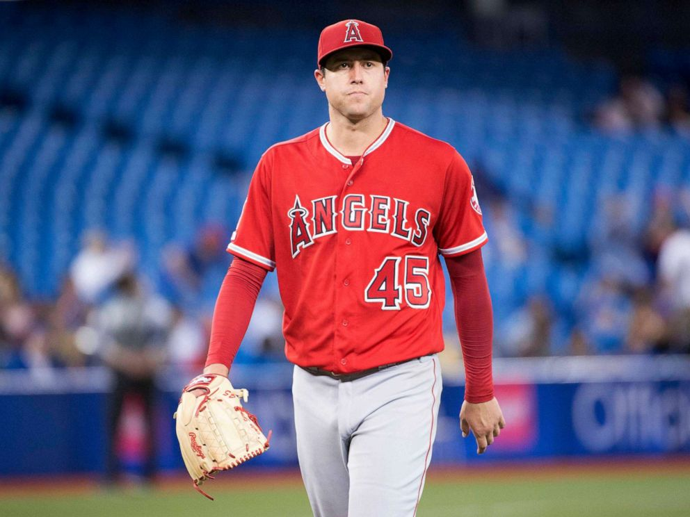 PHOTO: Los Angeles Angels starting pitcher Tyler Skaggs (45) walks towards the dugout after being relieved during the eighth inning against the Toronto Blue Jays at Rogers Centre in Toronto, Canada, June 18, 2019.