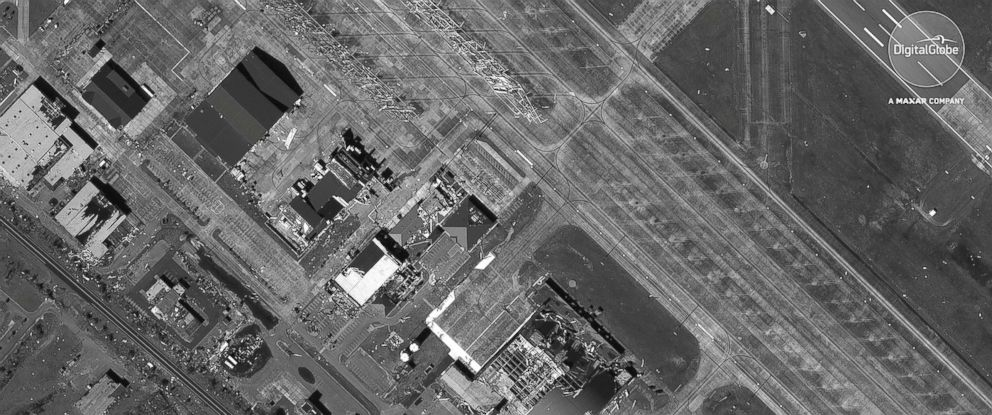 PHOTO: A satellite image provided on Oct. 11, 2018 shows hangars at Tyndall AFB in Florida after being hit by Hurricane Michael.