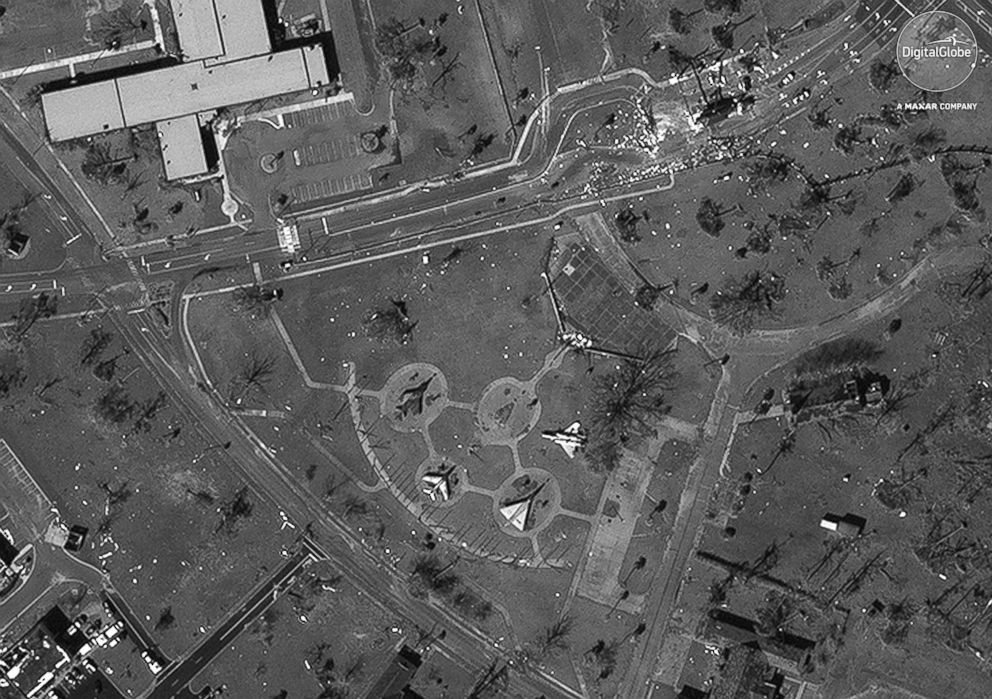 PHOTO: Display aircraft at Tyndall AFB in Florida are pictured in this Oct. 11, 2018 satellite image.