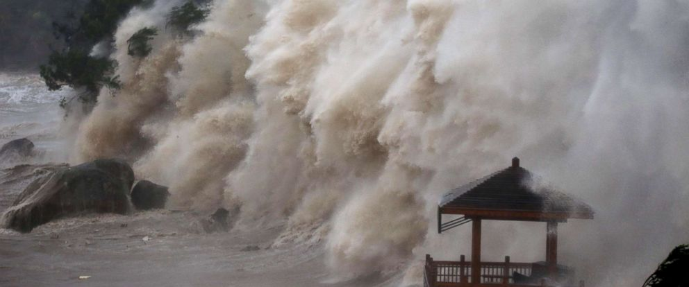 PHOTO: Waves brought by Typhoon Maria lash the shore in Wenzhou, Zhejiang province in China, July 11, 2018.