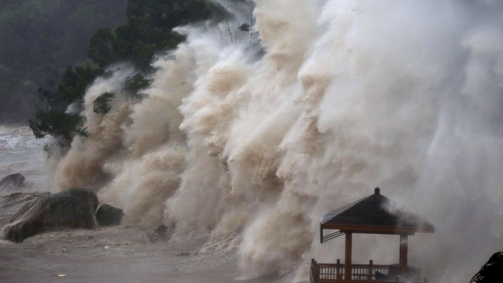 Waves brought by Typhoon Maria lash the shore in Wenzhou, Zhejiang province in China, July 11, 2018.