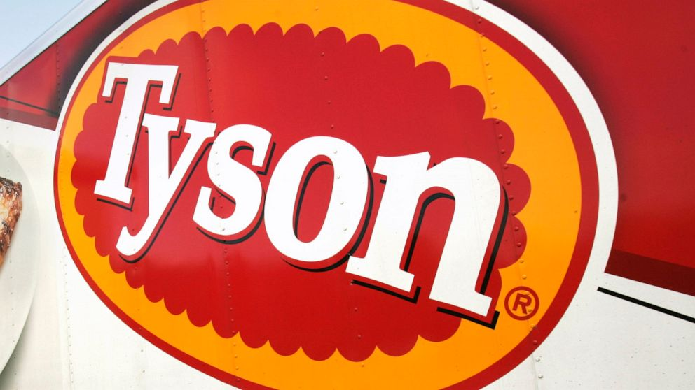 In this Oct. 28, 2009, file photo, a Tyson Foods, Inc., truck is parked at a food warehouse in Little Rock, Ark.