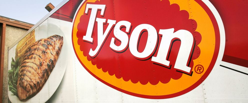 In this Wednesday, Oct. 28, 2009, file photo, a Tyson Foods, Inc., truck is parked at a food warehouse in Little Rock, Ark.