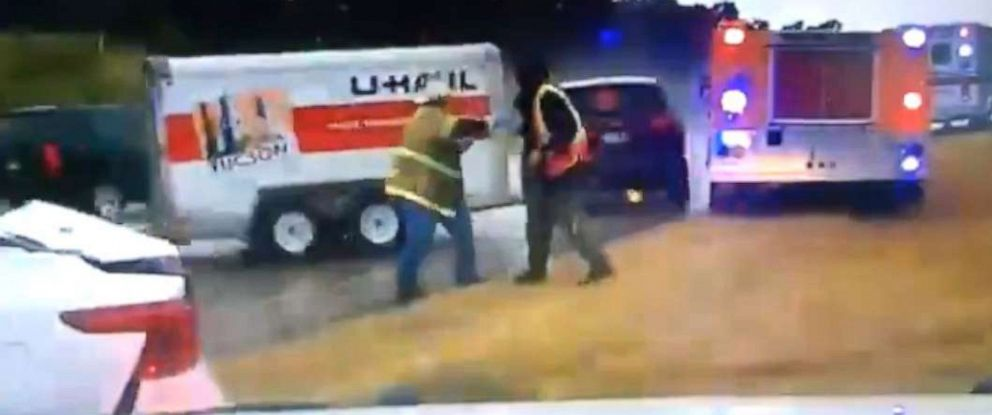 PHOTO: The Oklahoma Highway Patrol released dashcam footage of two firefighters being struck by a U-Haul as they were at the scene of a crash in Stringtown, Okla., Sept. 3, 2019.