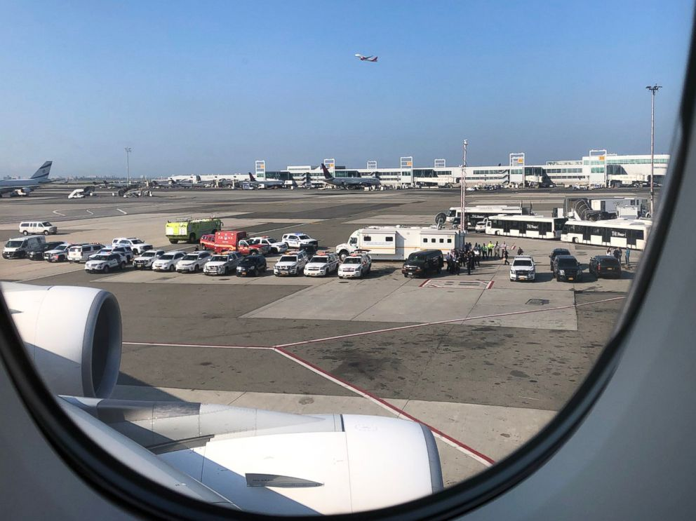 PHOTO: First responders are gathered on the tarmac in a photo shared by passenger on board a United Emirates flight that landed at JFK airport in New York with possible sick passengers on board, Sept. 5, 2018.