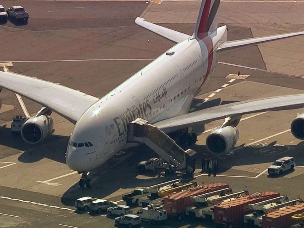 PHOTO: A United Emirates flight sits on the tarmac at JFK International Airport in New York with possible sick passengers on board, Sept. 5, 2018.