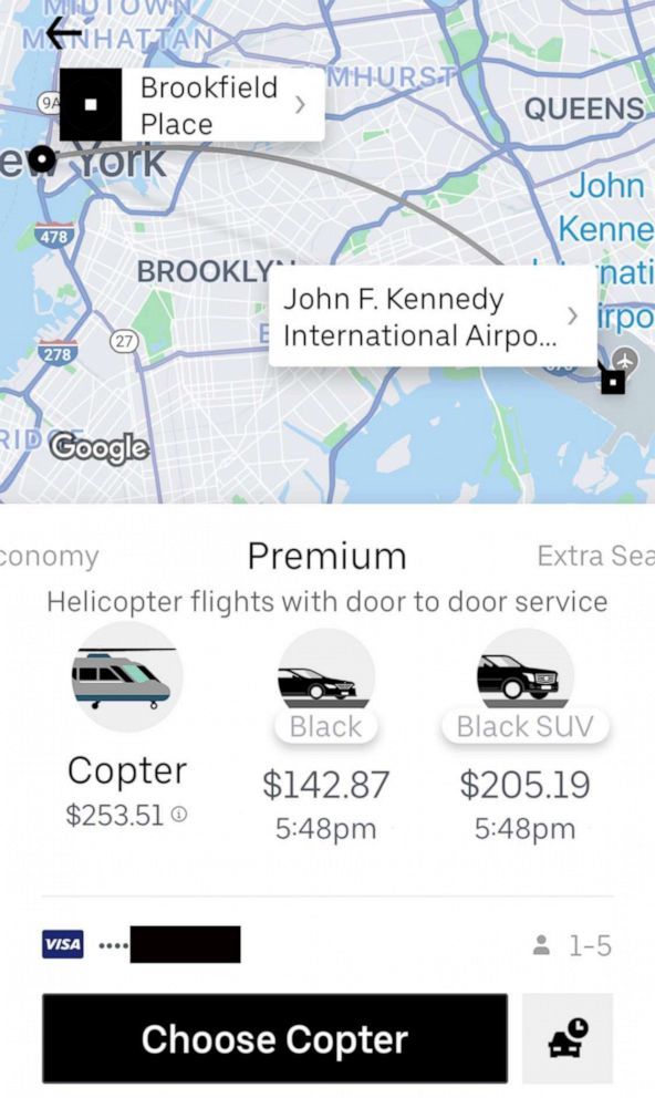 PHOTO: Uber launched its Uber Copter service from lower Manhattan to JFK, July 9, 2019.