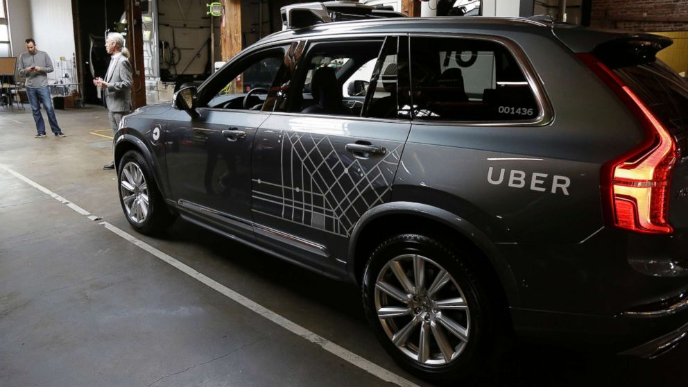 An Uber driverless car is displayed in a garage in San Francisco on Dec. 13, 2016.