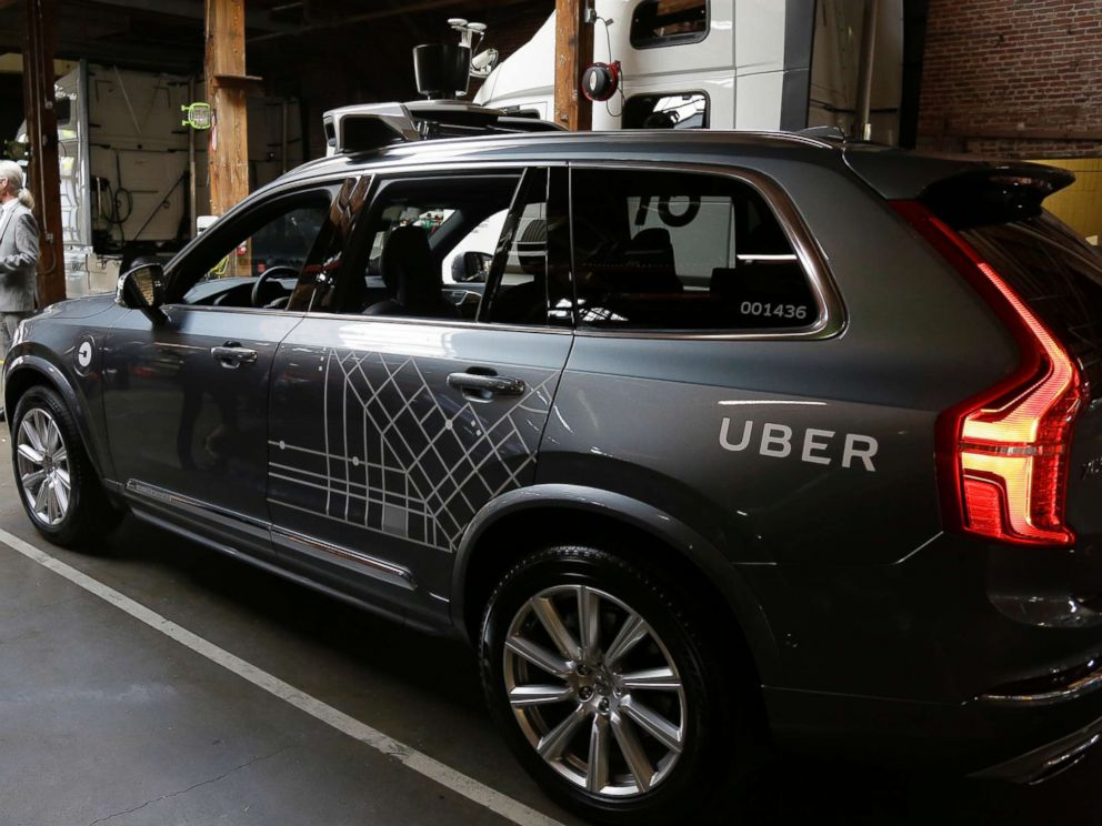 PHOTO: In this Dec. 13, 2016 file photo, an Uber driverless car is displayed in a garage in San Francisco.
