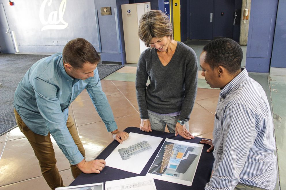 Left to right, Will Morrow, former ASUC President, Trineice Durst, former Associate Director of Rec Sports and Brigitte Lossing, Interim Associate Director of Rec Sports of UC Berkeley look over plans for the new lockerroom.