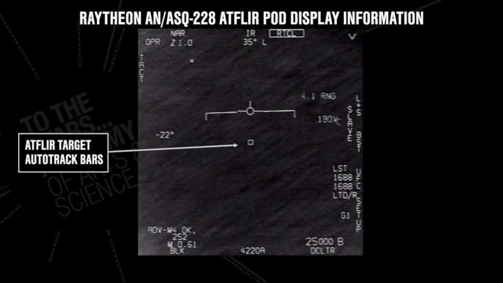 PHOTO: Video footage released by the To the Stars Academy of Arts and Science purportedly shows pilots observing a UFO while aboard a U.S. Navy aircraft.