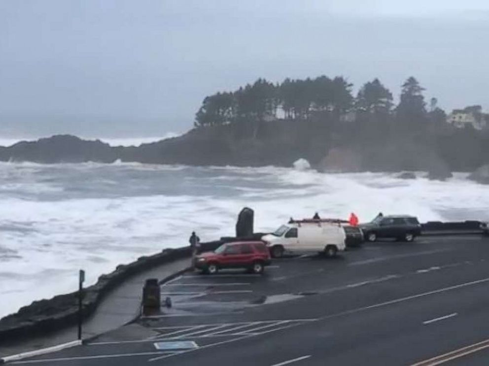 Huge waves in Depoe Bay, Oregon, washed one man out to sea on Thursday, Jan. 18, 2018.