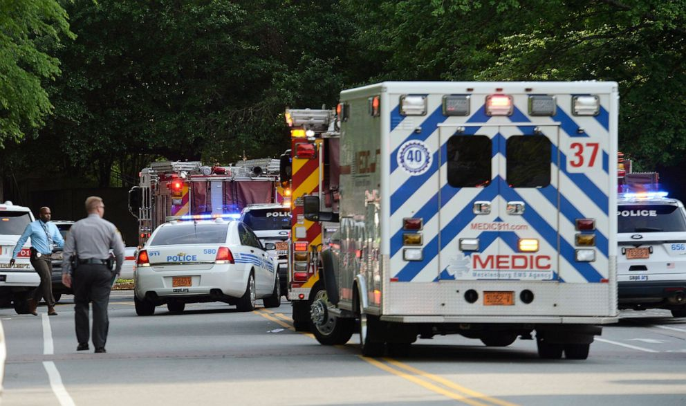 PHOTO: Emergency vehicles cluster on Mary Alexander Road on the campus of University of North Carolina at Charlotte after a shooting, April 30, 2019, in Charlotte, N.C.