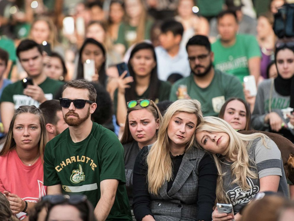PHOTO: UNC Charlotte students participate in a vigil on campus where the previous day a gunman killed two people and injured four students on May 1, 2019 in Charlotte, N.C.