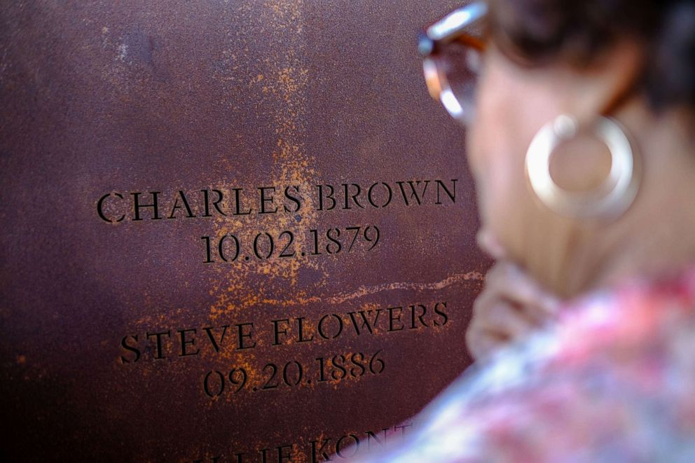 PHOTO: Mattie Berry finds the column bearing the name of Charles Brown, Matties great-grandfather, at the National Memorial for Peace and Justice in Montgomery, Ala., April 27, 2018.