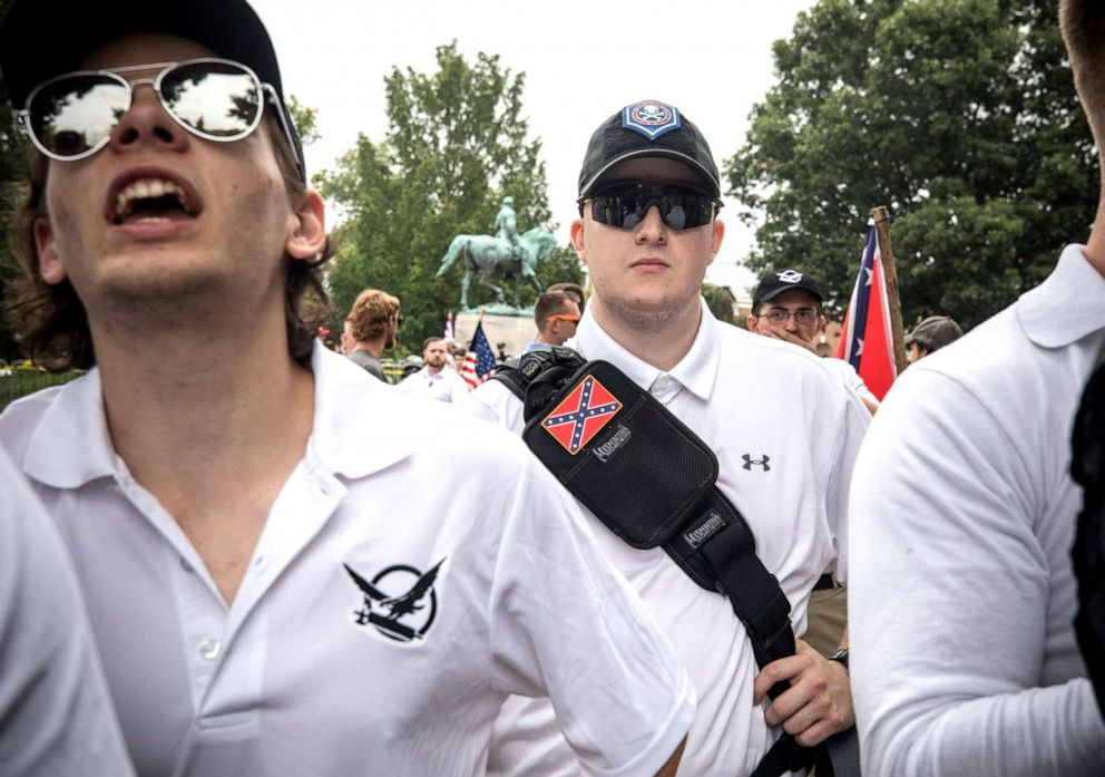 PHOTO: White supremacist groups rally in Emancipation Park during the Unite the Right Rally, Aug. 12, 2017.