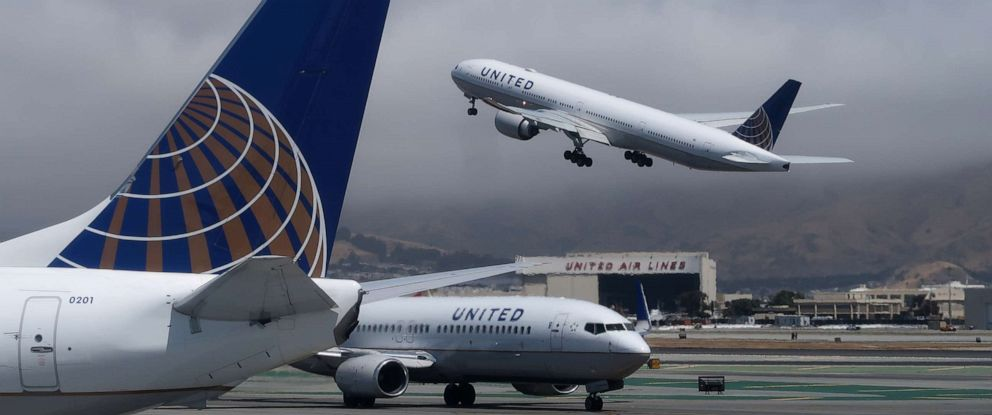 PHOTO: A United Airlines airplane takes off at San Francisco International Airport on June 15, 2018, in San Francisco, California.
