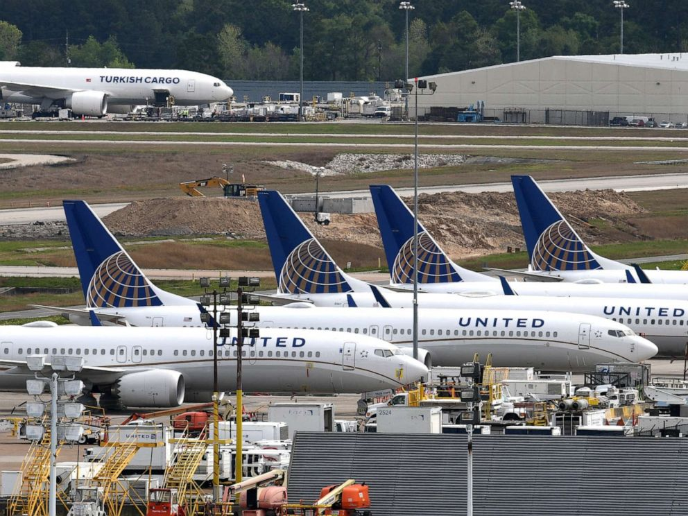 FILE PHOTO: United Airlines planes are pictured at George Bush Intercontinental Airport in Houston, on March 18, 2019.