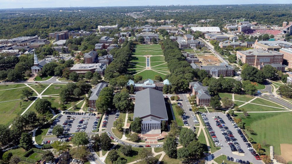 In this file photo is an aerial view of the University of Maryland campus taken on Oct. 4, 2014, in College Park, Md.