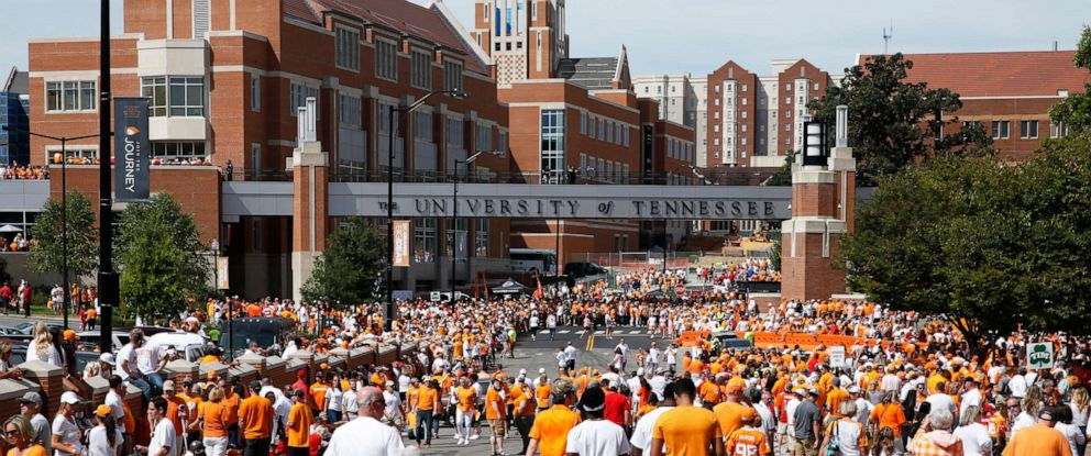 PHOTO: This Sept. 30, 2017, file photo shows a general view as fans congregate along Phillip Fulmer Way near campus prior to a game between the Tennessee Volunteers and Georgia Bulldogs at Neyland Stadium in Knoxville, Tenn.