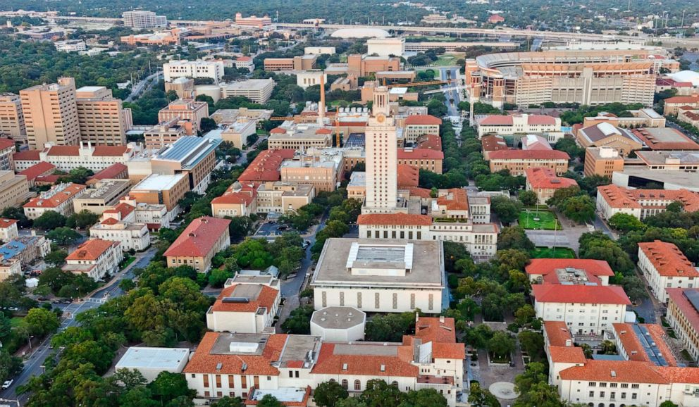 An aerial view of University of Texas at Austin.