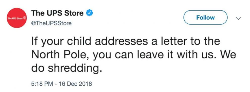 Tweet posted and since deleted by The UPS Store Twitter account.