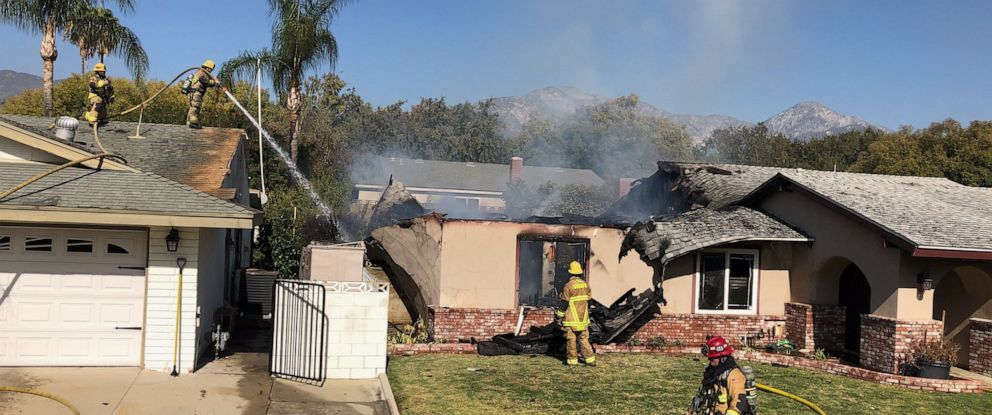PHOTO: A single-engine airplane flew into a home in California on Thursday morning, killing the pilot in a fiery crash.