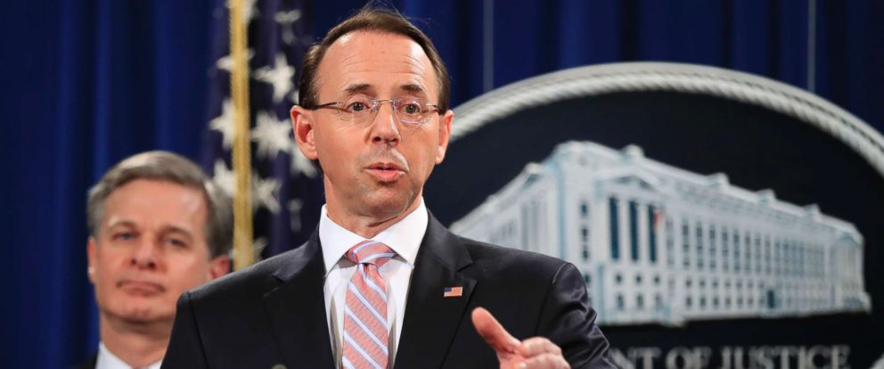 PHOTO: Deputy Attorney General Rod Rosenstein speaks during a news conference at the Department of Justice in Washington, Dec. 20, 2018.