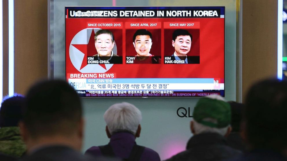 3 Americans held with NK back in US
