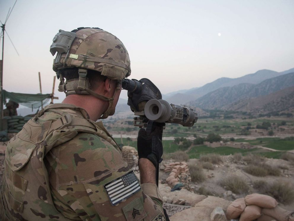 PHOTO: Sgt. Greggory Mommarts scans the terrain in Pekha Valley, Achin District, Nangahar Province, Afghanistan, Sept. 3, 2017.
